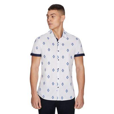 Fashion 4 Men - yd. Large Diamond Shirt White Xs