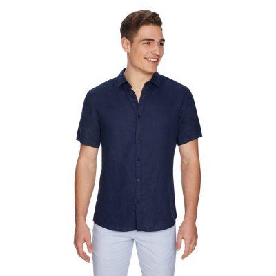 Fashion 4 Men - yd. Lewis Linen Shirt Dark Blue M