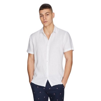 Fashion 4 Men - yd. Lewis Linen Shirt White S