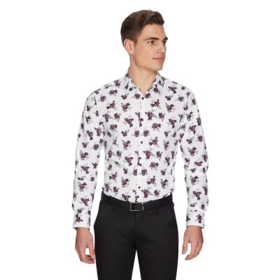 Fashion 4 Men - yd. Marseille Floral Shirt White L