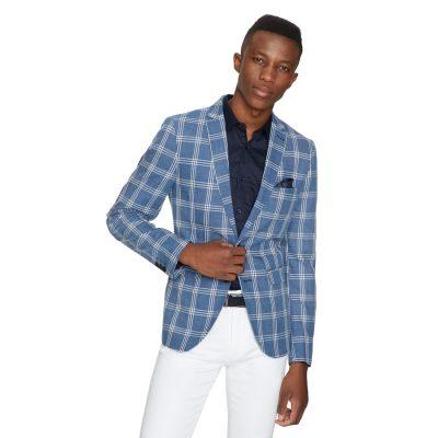 Fashion 4 Men - yd. Maverick Check Blazer Denim Blue 2 Xs