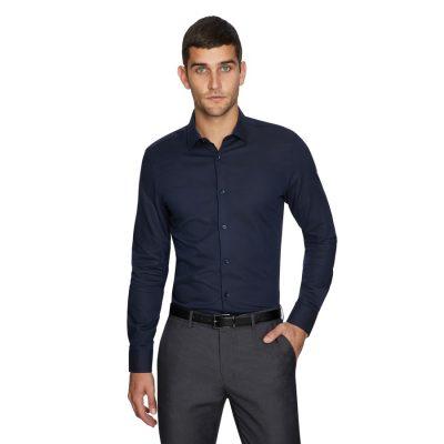 Fashion 4 Men - yd. Mitch Slim Dress Shirt Navy 2 Xs