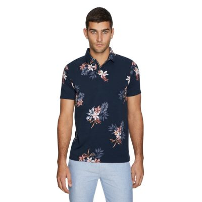 Fashion 4 Men - yd. Mono Floral Polo Navy 2 Xl