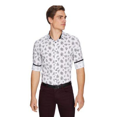 Fashion 4 Men - yd. Noir Floral Shirt White 2 Xs