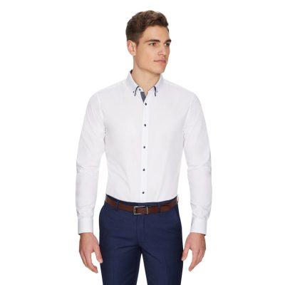 Fashion 4 Men - yd. Oliver Slim Dress Shirt White L