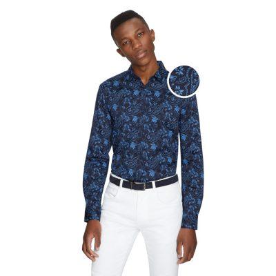 Fashion 4 Men - yd. Palma Paisley Slim Shirt Dark Blue Xl
