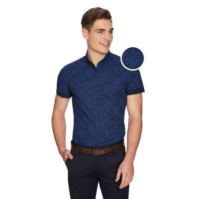 Fashion 4 Men - yd. Pat Paisley Slim Shirt Blue 2 Xs