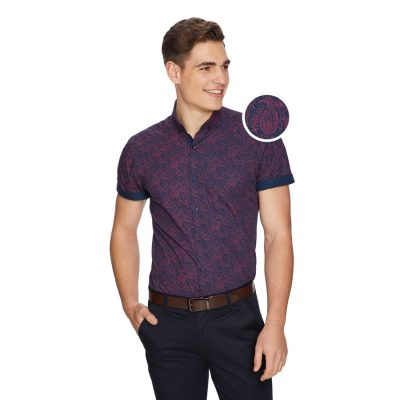 Fashion 4 Men - yd. Pat Paisley Slim Shirt Burgundy L