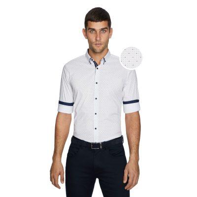 Fashion 4 Men - yd. Roka Slim Fit Shirt Burgundy Print Xxxl