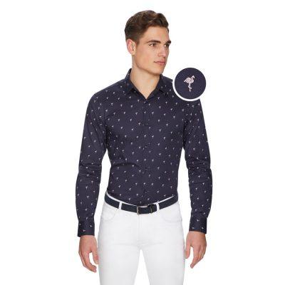 Fashion 4 Men - yd. Small Flamingo Slim Shirt Dark Blue Xs