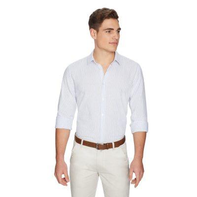 Fashion 4 Men - yd. Stripe Linen Shirt Blue Stripe Xl
