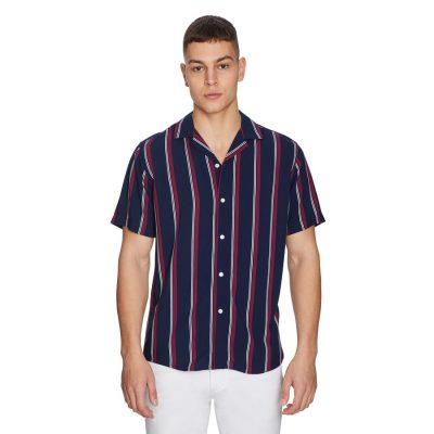 Fashion 4 Men - yd. Super Stripe Shirt Dark Blue L