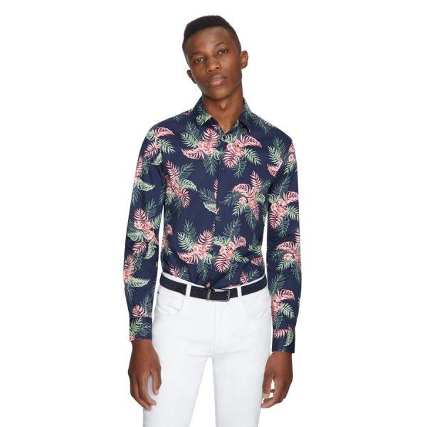 Fashion 4 Men - yd. Tropics Slim Shirt Dark Blue L