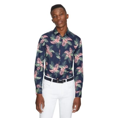 Fashion 4 Men - yd. Tropics Slim Shirt Dark Blue M