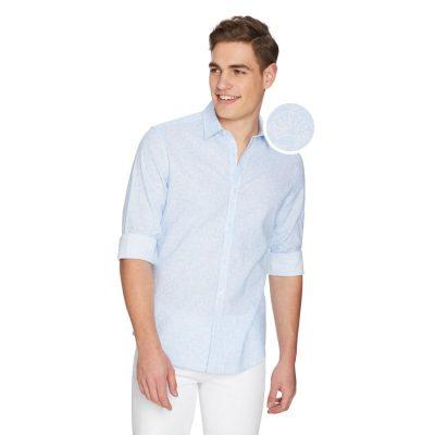 Fashion 4 Men - yd. Tuscany Linen Shirt Light Blue M