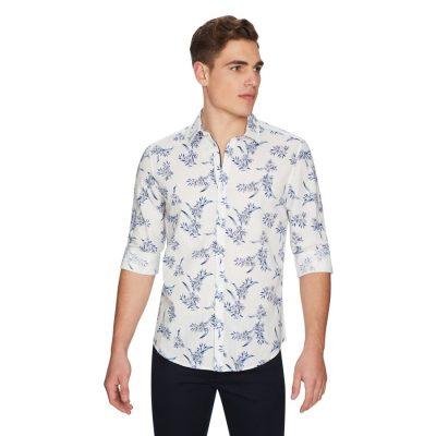 Fashion 4 Men - yd. Vivaro Floral Linen Shirt Blue Print 2 Xs