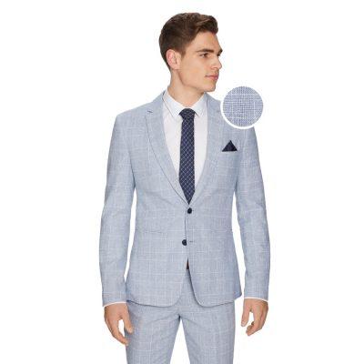 Fashion 4 Men - yd. Wilson Linen Slim Suit Jacket Ice Blue 40