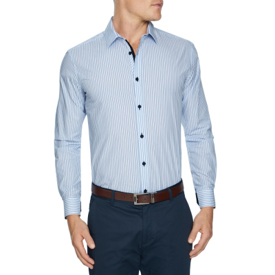 Fashion 4 Men - Tarocash Addison Stripe Shirt Sky 4 Xl