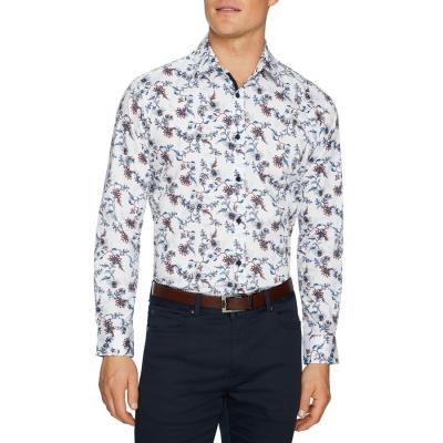 Fashion 4 Men - Tarocash Anderson Stretch Print Shirt White S