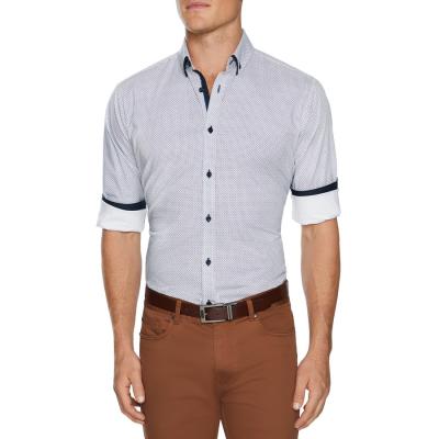 Fashion 4 Men - Tarocash Asher Stretch Geo Shirt White Xxxl