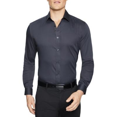 Fashion 4 Men - Tarocash Bahamas Slim Stretch Shirt Charcoal Xxxl