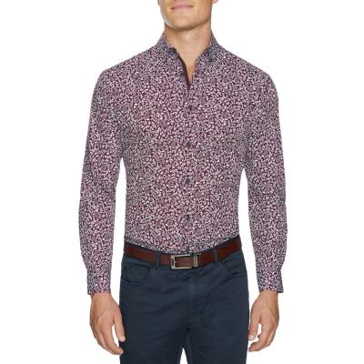Fashion 4 Men - Tarocash Barden Floral Print Shirt Burgundy Xl