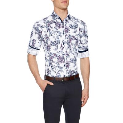 Fashion 4 Men - Tarocash Bellevue Slim Floral Print Shirt White Xl