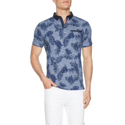 Fashion 4 Men - Tarocash Bourke Floral Print Polo Navy 5 Xl