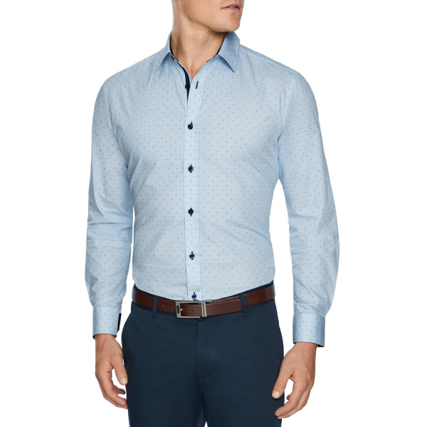 Fashion 4 Men - Tarocash Bradley Geo Print Shirt Sky Xxxl