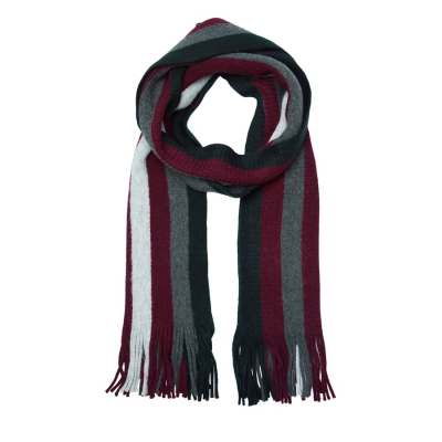 Fashion 4 Men - Tarocash Brussels Stripe Scarf Burgundy 1