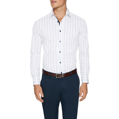 Fashion 4 Men - Tarocash Chapman Stretch Check Shirt White Xxl