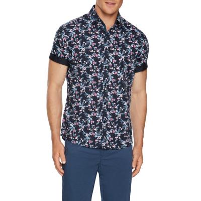Fashion 4 Men - Tarocash Costa Floral Stretch Shirt Navy M