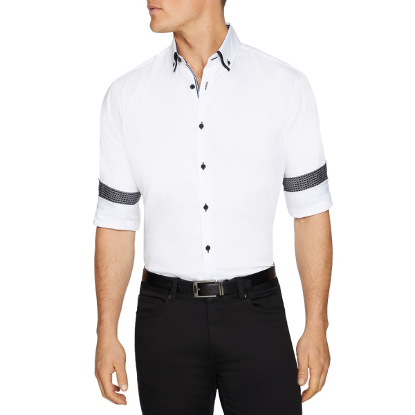 Fashion 4 Men - Tarocash Darley Slim Stretch Shirt White Xl