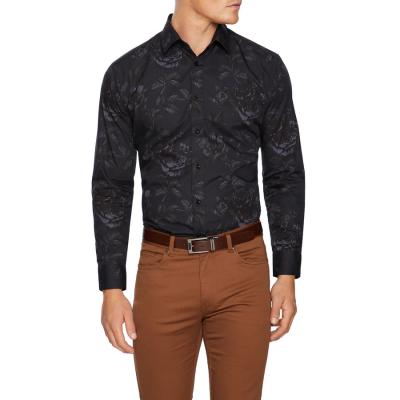 Fashion 4 Men - Tarocash Devon Slim Floral Print Shirt Black 4 Xl