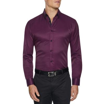 Fashion 4 Men - Tarocash Dwyer Textured Shirt Berry Xxxl
