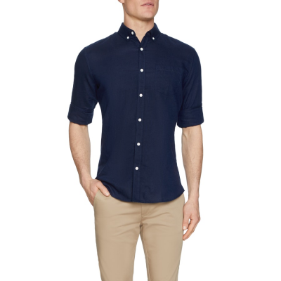 Fashion 4 Men - Tarocash Elliot Linen Shirt Midnight M