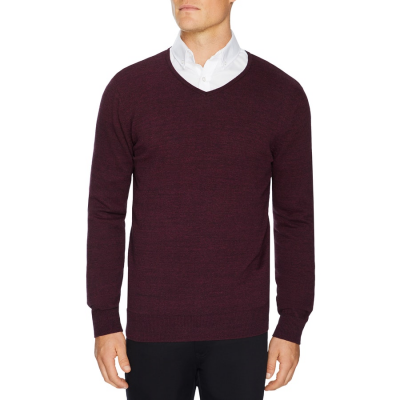Fashion 4 Men - Tarocash Essential V Neck Knit Burgundy Xs