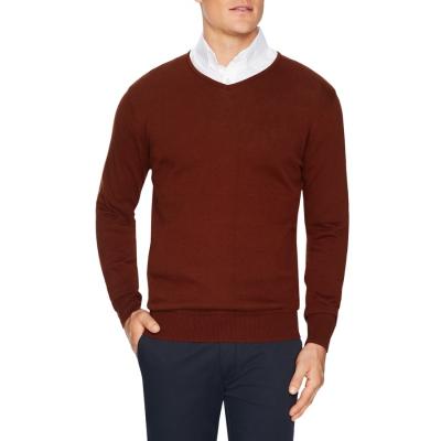 Fashion 4 Men - Tarocash Essential V Neck Knit Rust S
