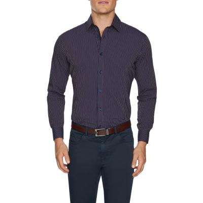Fashion 4 Men - Tarocash Evan Slim Stripe Shirt Burgundy S