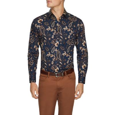 Fashion 4 Men - Tarocash Everglades Slim Paisley Shirt Midnight Xl