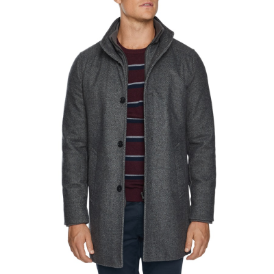 Fashion 4 Men - Tarocash Fairmont Wool Blend Coat Silver S