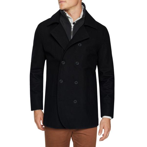 Fashion 4 Men - Tarocash Fez Db Wool Blend Coat Black Xxl
