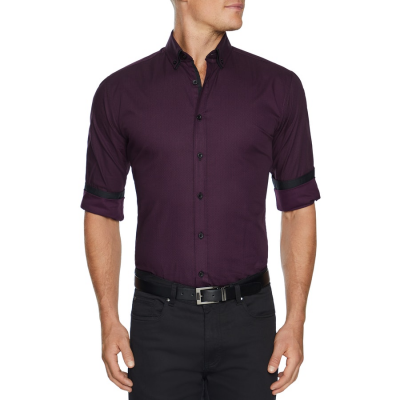 Fashion 4 Men - Tarocash Geometric Print Shirt Aubergine 4 Xl