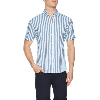 Fashion 4 Men - Tarocash Grove Linen Blend Stripe Shirt Blue M