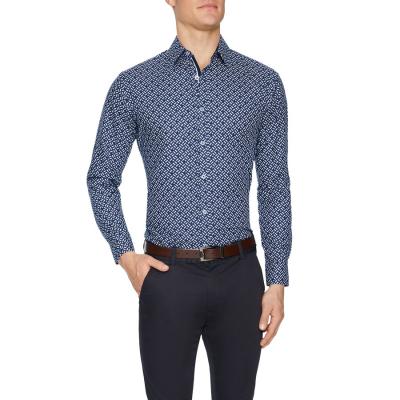 Fashion 4 Men - Tarocash Havelock Slim Geo Print Shirt Navy L