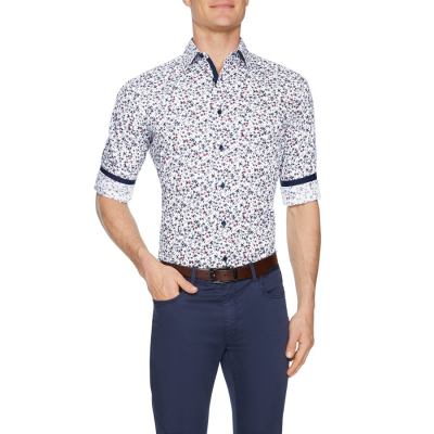 Fashion 4 Men - Tarocash Henley Slim Floral Print Shirt Blue Xs