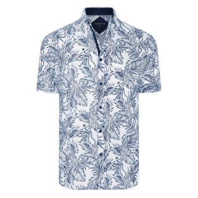 Fashion 4 Men - Tarocash Hidden Tiger Print Shirt White Xl