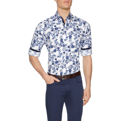 Fashion 4 Men - Tarocash Hindley Floral Stretch Shirt White S