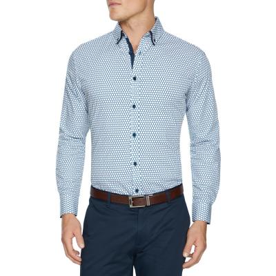Fashion 4 Men - Tarocash Jennings Slim Geo Shirt White Xs