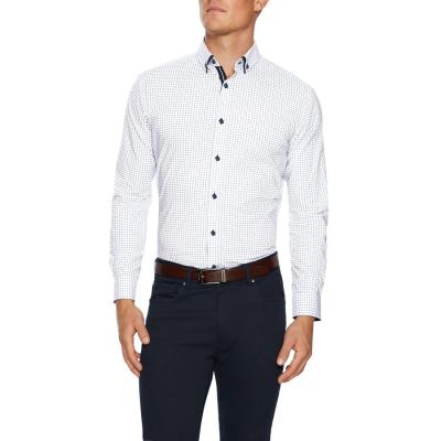 Fashion 4 Men - Tarocash Jones Slim Stretch Print Shirt White Xs